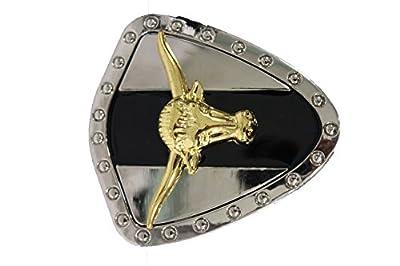 TFJ Men's Women's Fashion Belt Buckle Western Silver Metal Gold Bull Black Triangle