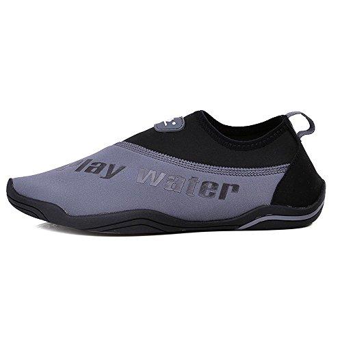 MoreDays Men Water Shoes Barefoot skin Aqua Shoes with Drainage Holes for Swim Walking Yoga Beach Boating (US 8.5-9, blackgrey4) by MoreDays