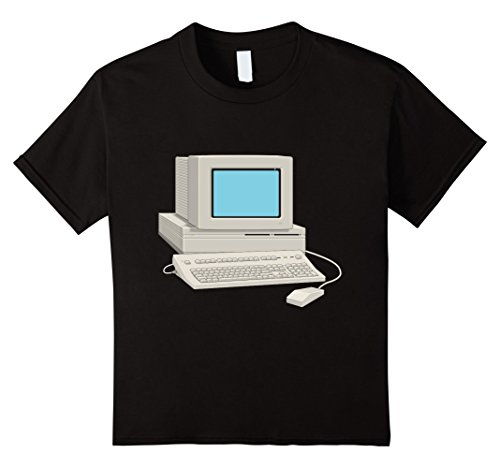 Price comparison product image Kids Antique Computer t-shirt Vintage Desktop Monitor Keyboard 8 Black