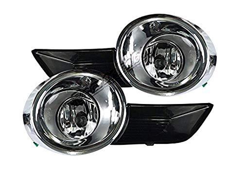 (Remarkable Power FL7123 Fit For 2008-11 Toyota Highlander Chrome Trim Black Bezel Fog Light Kits )