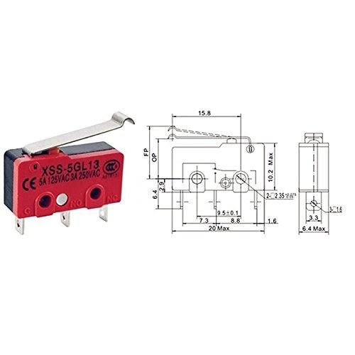 5PCS Levier /à rouleaux simul/é SPDT Microinterrupteur /à courant alternatif