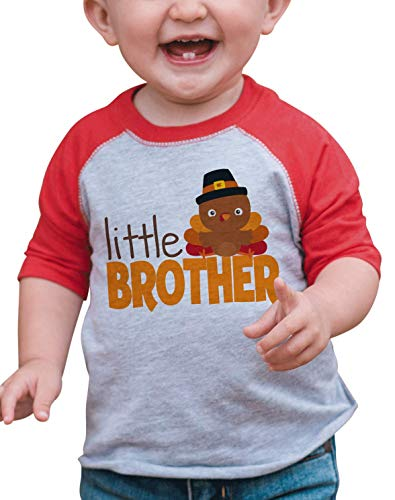 7 ate 9 Apparel Baby Boys Little Brother Thanksgiving Red Raglan