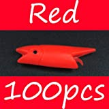 CUSHY Bimoo 3cm 0.7g Red/Dark Bule/Orange/Luminou Fih Head DIY abiki Rig Material Lure oft: Red 100pc