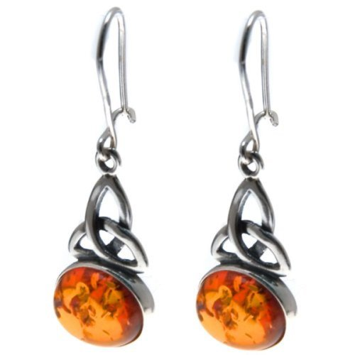 Honey Amber Sterling Silver Celtic Oval - Sterling Earrings Amber Cabochon Silver