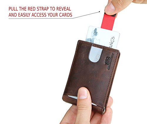 Travel Wallet RFID Blocking Bifold Slim Genuine Leather Thin Minimalist Front Pocket Wallets for Men Money Clip - Made From Full Grain Leather (Texas Brown 1.0)