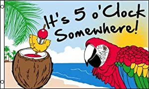 3x5 Feet Flag It's 5 O'Clock Somewhere Party Parrot Happy Hour Margarita