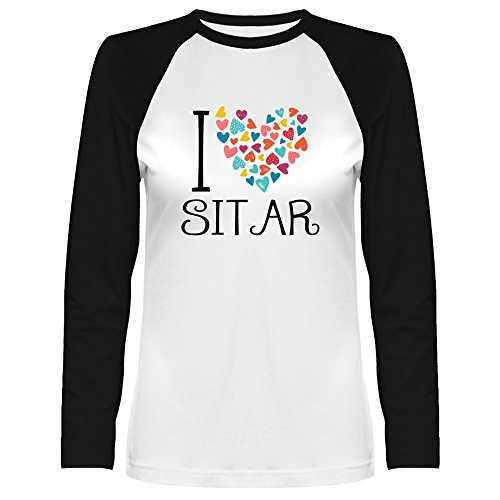 Idakoos I Love Sitar Colorful Hearts Musical Instrument Raglan Long Sleeve T-Shirt