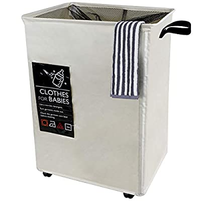 """Any-door Laundry Bag Basket Hamper Wheels Foldable Fabric Durable Dirty Clothes Bag 22.8""""x15.8""""x13"""" Large Capacity 6 Extra Cards Bathroom,Washing Room,Living Room Dormitory -  - laundry-room, hampers-baskets, entryway-laundry-room - 41s9wE7hsDL. SS400  -"""