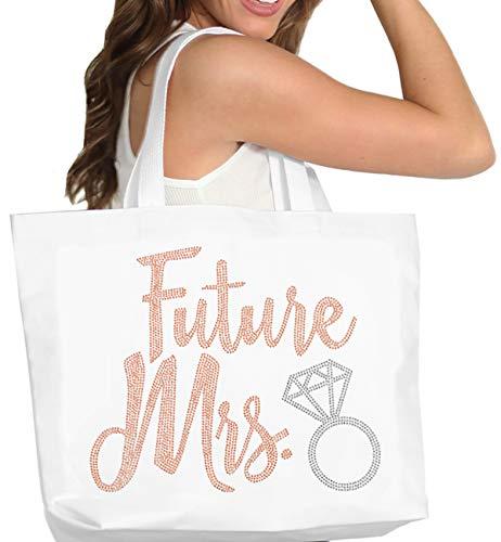 Future Mrs. Rose Gold Tote Bag - Giant Cotton Canvas Bride Tote, Bridal Shower Gift & Wedding Accessories - White Tote(DFutMrs RsGld) Wht ()