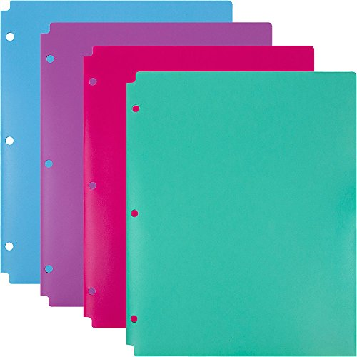JAM Paper 2 Pocket 3 Hole Punched Plastic Presentation School Folder - Assorted Colors - 4/pack
