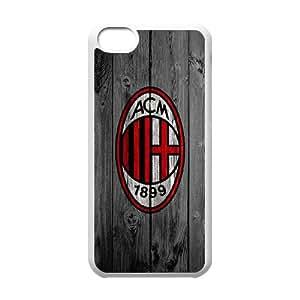 Caso del iPhone 5C Teléfono Funda de blancos personalizado Ac Milan Madera E4N2BZ Moda Teléfono Fundas de plástico