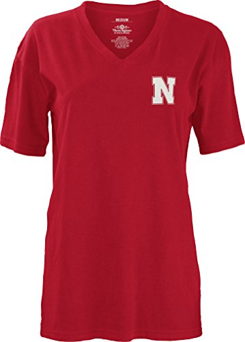 Three Square by Royce Apparel NCAA Nebraska Cornhuskers Mascot Aztec Short Sleeve V-Neck T-Shirt, Medium, (Nebraska Logo Square)