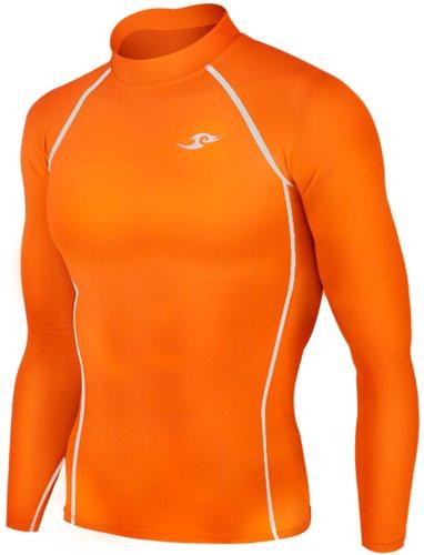 New 137 Skin Tight Compression Base Layer Orange Running Shirt Mens S - 2xl (M) (Skin Color Tights Men)