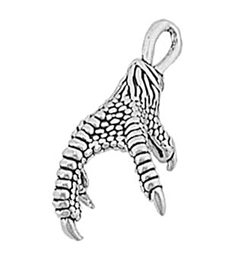 - 925 Sterling Silver Classic Large Eagle Bird Claw Talons Charm Pendant