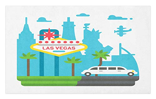 Ambesonne Las Vegas Doormat, Cartoon Limo and City Sign with Famous Architecture Silhouettes in Background, Decorative Polyester Floor Mat with Non-Skid Backing, 30 W X 18 L Inches, Multicolor ()