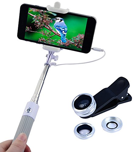 Apexel Mini Foldable Wired Built-in Remote Shutter Selfie Stick Monopod + 3 in 1 Fisheye , Wide Angle, Macro Phone Lens Kit for iPhone Samsung Silver