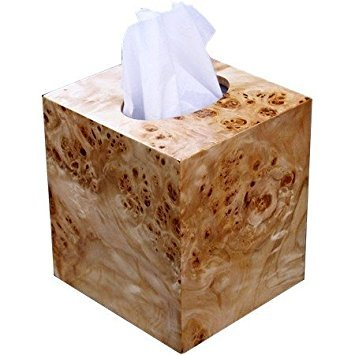 - Wooden Tissue Box Cover in Exotic Mappa Burl Wood Boutique Square Cube Size.