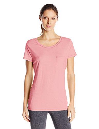 Hanes Women's Short Sleeve Pocket Tee, Neon Pink Heather, Small