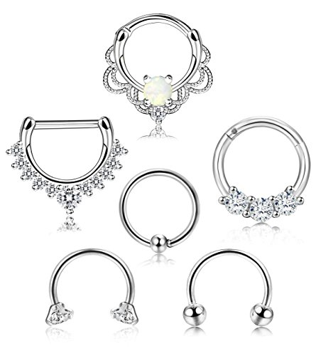 (ORAZIO 6PCS 16G 316L Stainless Steel Septum Hoop Nose Ring Horseshoe Rings Cartilage Clicker Piercing Jewelry Sliver-Tone)