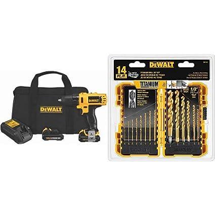 DEWALT DCD710S2 12-Volt Max 3/8-Inch Drill Driver Kit with DEWALT DW1354  14-Piece Titanium Drill Bit Set