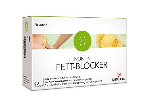 NOBILIN FETT-BLOCKER - 60 Tabletten, Fettbinder bei Diät & Übergewicht, Gewichtskontrolle, Reduzierung von Kalorien & Nahrungsfetten, Fatburner