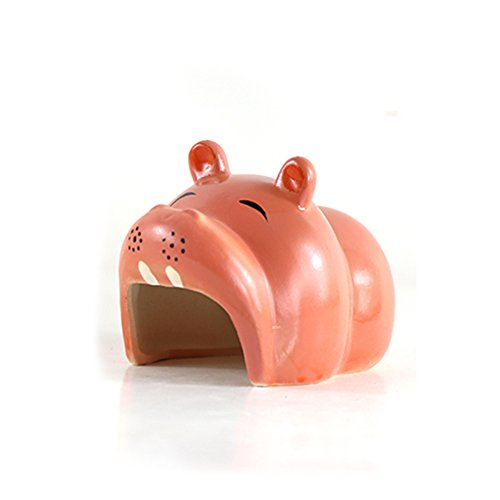 Fitlyiee Cute Hippo Pet Hideout Hut Cave for Hamster House Chinchilla and Others Small Animals