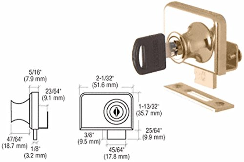 CRL Gold Plated Lock for 1/4'' Double Glass Doors - Keyed Alike by C.R. Laurence