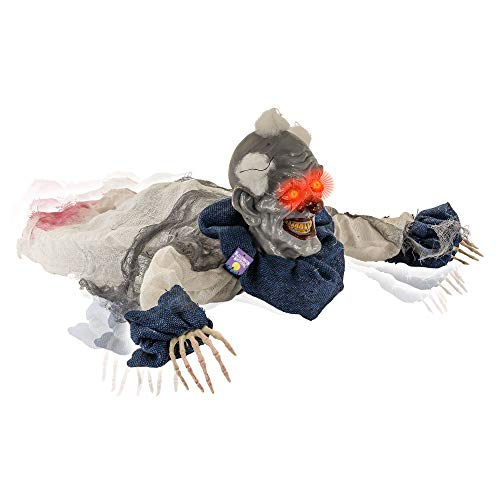 Scary Clown Props (Halloween Haunters 2 Foot Animated Creepy Crawling Motion Clown Reaper Zombie Groundbreaker Moving Body LED Eyes Prop Decoration - Scary Spooky Howls, Laughs - Haunted House Party)