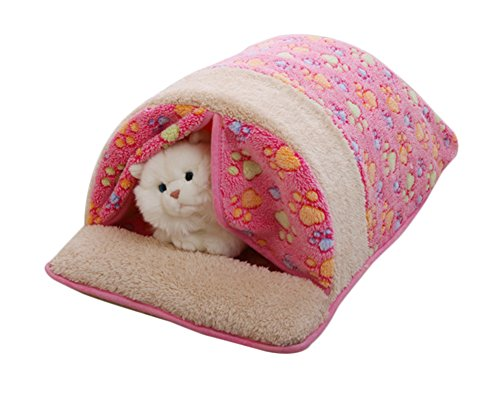 [Freerun Warm Soft Fleece Pets Bed Sleeping Bag Burrow Cuddle Cat Dog Cave with Curtain (Pink, M)] (Business Suit Dog Costume)