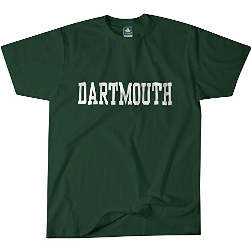 Dartmouth College T-Shirt by Ivysport – Classic Logo, 100% Cotton, Hunter Green, Short Sleeve T-Shirt, Small - Mens College Big Logo Tee