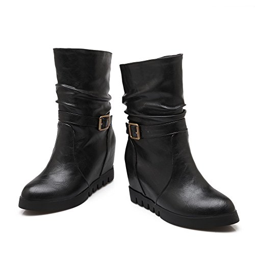 Toe Pull Closed Black Inside Top heighten Round AgooLar Women's Blend Mid Materials On Boots w8tzqH