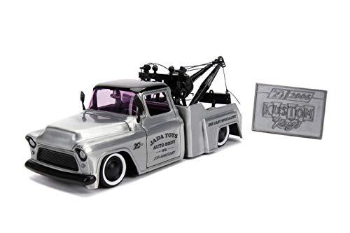 Jada Toys 20th Anniversary Kustom Kings 1955 Chevy Stepside Die-Cast Car, 1:24 Scale Bare Metal from Jada
