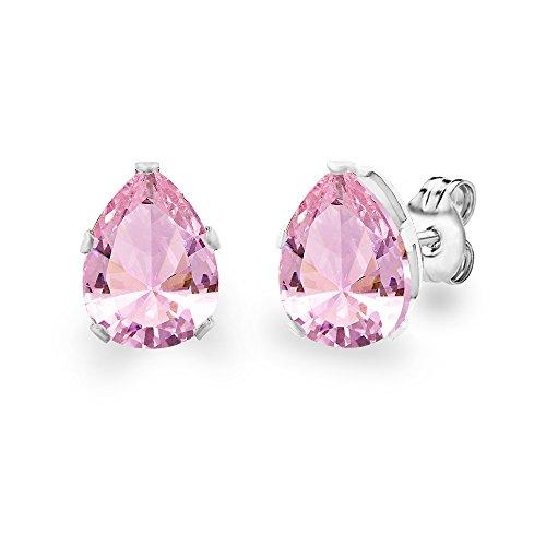 Diane Lo'ren 18KT White Gold Plated 8mm Gemstone Crystal Teardrop Pear Shaped Cubic Zirconia Cartilage Studs Earrings Set Women Jewelry (Pink Tourmaline)