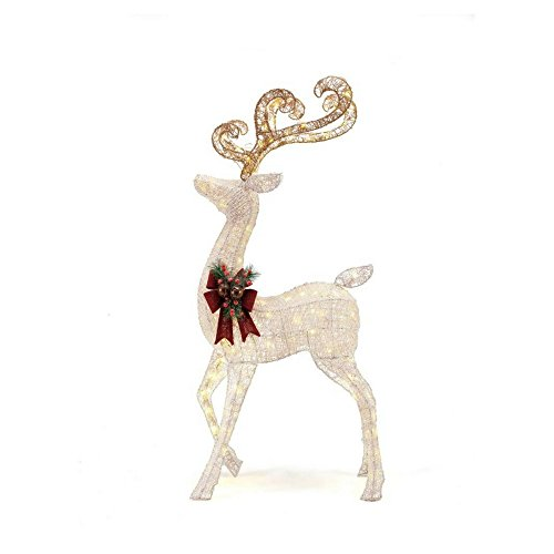 56 in. LED Lighted White PVC Standing Deer by Home Accents Holiday (Image #2)