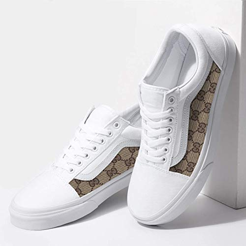 fine quality differently lovely luster Vans White Old Skool x Gucci Custom Handmade Shoes By Fans ...