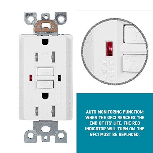 10 Pack - GFCI Duplex Outlet Receptacle - Tamper Resistant & Weather Resistant 15-Amp/125-Volt, Self-Test Function with LED Indicator - UL Listed, cUL Listed - Wall Plate and Screws Included, White by Dependable Direct (Image #4)