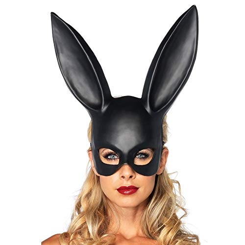 Black Women Rabbit Mask Long Ear Half Face Halloween Party Cosplay Masquerade Adults -