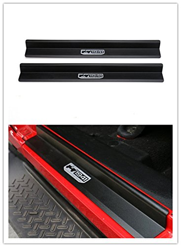 Highitem One Set of 2 Pcs Aluminum Alloy Door Sill Protector Cover Scuff Plate Entry Guards for 2007-2017 Jeep Wrangler JK 2 Door (Black)