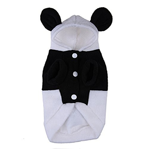Egmy Fashion Pet Puppy Dog Cat Clothes Polar Fleece Cute Panda Warm Hoodie Coat Costume Autumn Winter Black&White (M)