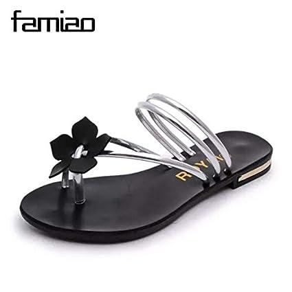 3e18d71c1 Amazon.com  HuWang 2016 Arrival Summer Women Slides Metal Shoes ...