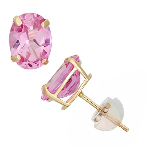 Earrings Oval Pink Sapphire (Created Pink Sapphire Oval Stud Earrings in 10K Yellow Gold, 8x6mm, Comfort Fit)