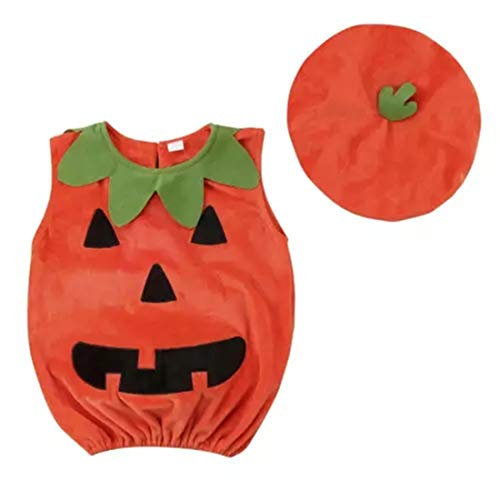 Pumpkin Baby Costume - Cosplay Baby Rompers Halloween Jumpsuits Tops+Hats for Infant Toddler Kids 0-3Y  (Orange, 6-12Months/Baby Height:90CM/Top Length: 39cm/Bust -