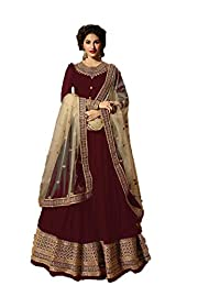 Zarina Fashion Women's Heavy Jarjot Codding and Stone Work Indian Partywear Full Stitched Anarkali Style Suit and Dupatta