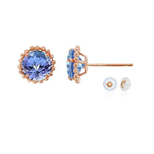 14K Rose Gold 5mm Round Tanzanite with Bead Frame Stud Earring with Silicone Back (14k Gold Tanzanite Bead)