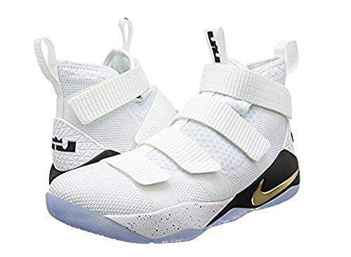 Nike Lebron Soldat Xi Herre Basketball Sko Hvid / Sort-metallic Guld sw8Du