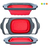Colander Collapsible - Red & Grey - Over the Sink Colander with Handles - Folding Strainer for Kitchen 6-quart Capacity - By Comfify