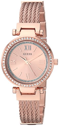 GUESS Women's Stainless Steel Casual Wire Bangle Bracelet Watch, Color: Rose Gold-Tone (Model: - Watch Gold Guess Rose