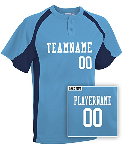 (Adult Custom Baseball 2-Button Jersey, Personalize with YOUR Names & Numbers-L)