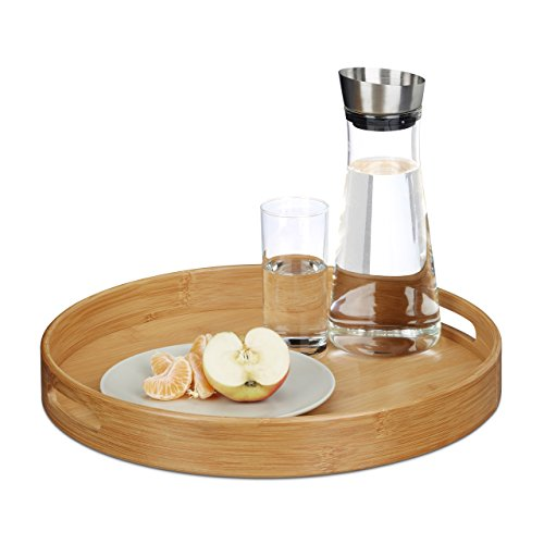 Relaxdays Round Bamboo Serving Tray, Raised Edge, Food Tray, Cut-Out Handles, Size: 5 x 38.5 x 38.5 cm, Wood, Natural