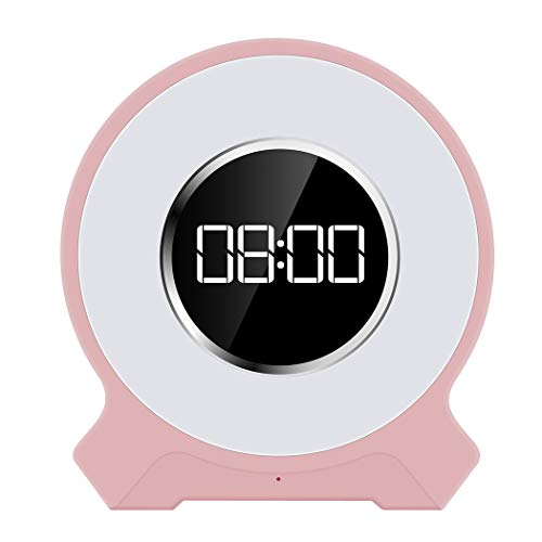 QAR Bluetooth Audio Alarm Wake-up Light Wireless Intelligent Audio LED Music Light Colorful Atmosphere Light Speaker Sound (Color : Pink)